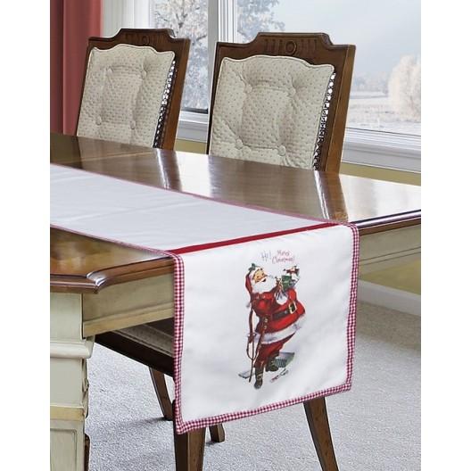 Vianočná štóla na stôl v bielej farbe so Santa Clausom