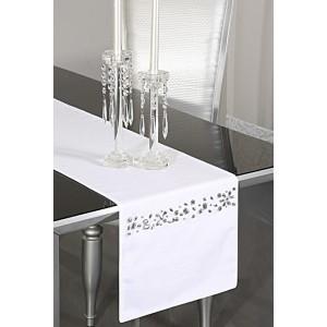 biela slávnostná štóla na stôl so strieborným motívom