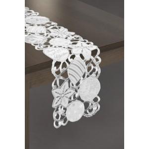 Biely vianočný behúň na stôl so striebornými výšivkami
