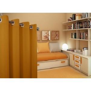 Horčicové jednofarebné závesy vhodné do spálne