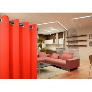 Jednofarebný záves v neonovej oranžovej farbe