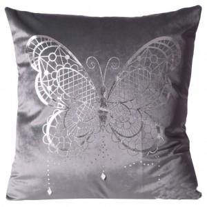 Sivá obliečka na vankúš s veľkým strieborným motýľom