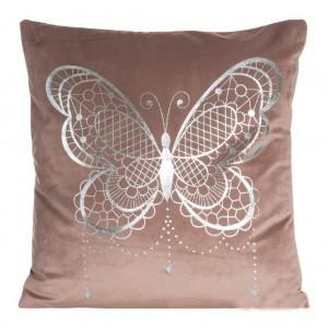 Luxusná obliečka na vankúše v tmavo ružovej farbe s motívom motýľa
