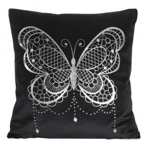Čierna elegantná obliečka na vankúš s motívom veľkého motýľa