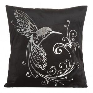 Moderná obliečka na vankúš v čiernej farbe s vtákom a kvetom