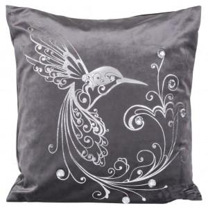 Elegantná obliečka na vankúše v sivej farbe s s motívom veľkého vtáka