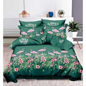Zelené posteľné obliečky 160x200 s motívom plameniaka