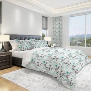 Biela originálna obliečka na posteľ do spálne s tyrkysovými a sivými kvetmi