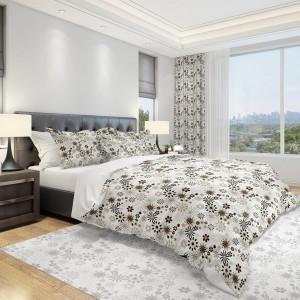 Moderné posteľné obliečky do spálne v bielej farbe s malými hnedými kvetmi