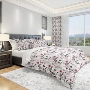 Kvalitná obliečka na posteľ v rozmere 160x200cm v bielej farbe so sivo ružovým vzorom