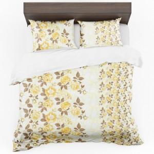Štýlové krémové obliečky na posteľ so vzorom kvetov v žltej farbe