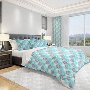 Originálna posteľná obliečka 160x200cm so sivými a tyrkysovými srdiečkami