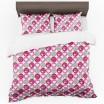 Biele posteľné obliečky do spálne s motívom srdiečok v sivej a ružovej farbe