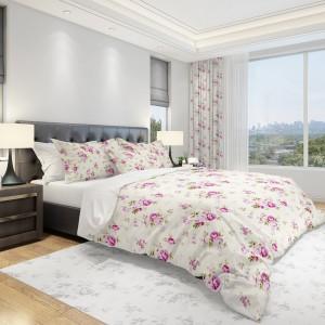Luxusná obliečka na posteľ v krémovej farbe s ružovými kvetmi