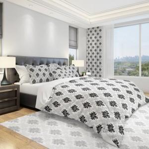 Sivá posteľná návliečka do spálne s abstraktným tmavo sivým vzorom