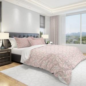 Posteľné obliečky do spálne v ružovej farbe s motívom kociek
