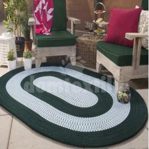 Oválny koberec v zeleno sivej farbe