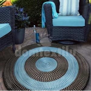 Čierno tyrkysový kruhový koberec