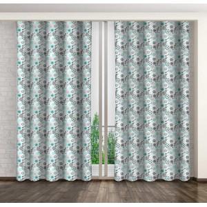 Hotové závesy na okná v bielej farbe s tyrkysovými kvetmi
