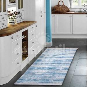Moderný kuchynský koberec v modrej farbe