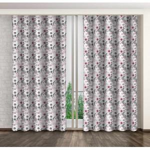 Dekoračné závesy do obývačky s motívom sivých a ružových kvetov