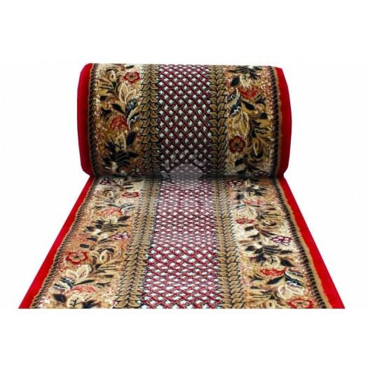 Metrážny koberec s kvetinovým vzorom a červeným okrajom