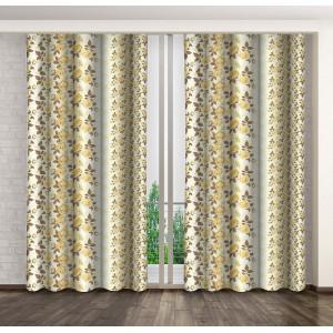 Krémové hotové závesy do spálne so žltými kvetmi