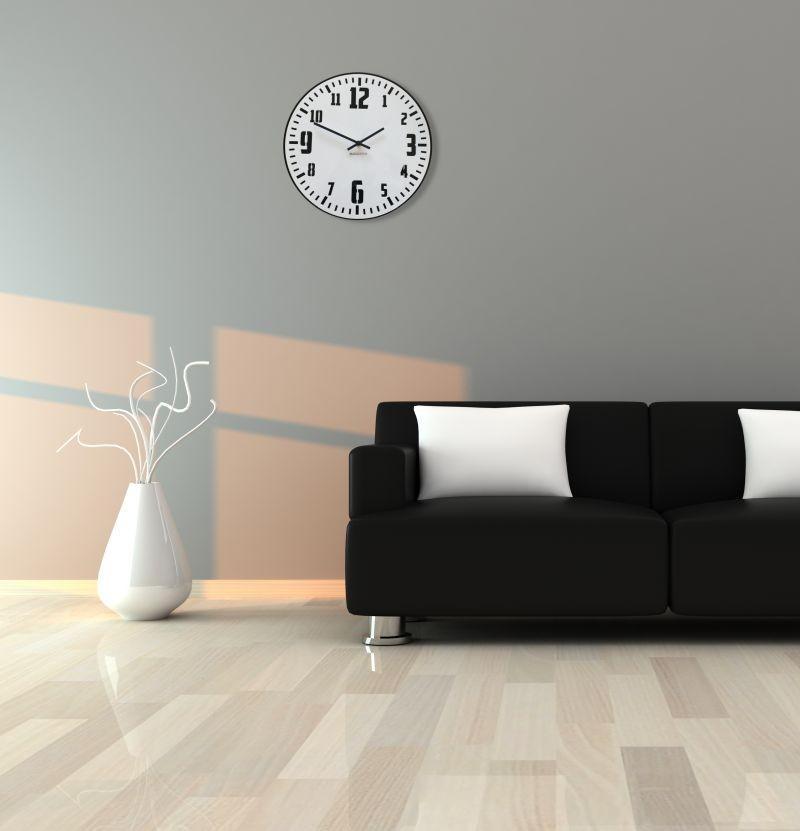 DomTextilu Retro hodiny na stenu v bielej farbe s čiernym ciferníkom 12756