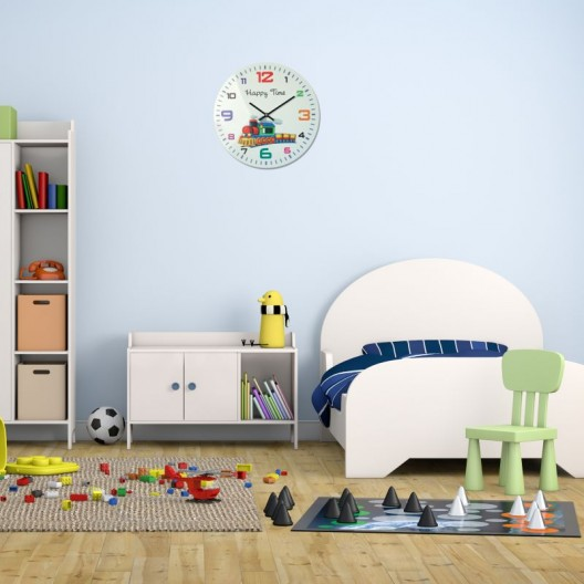 HAPPY TIME nástenné hodiny pre deti v bielej farbe s vláčikom