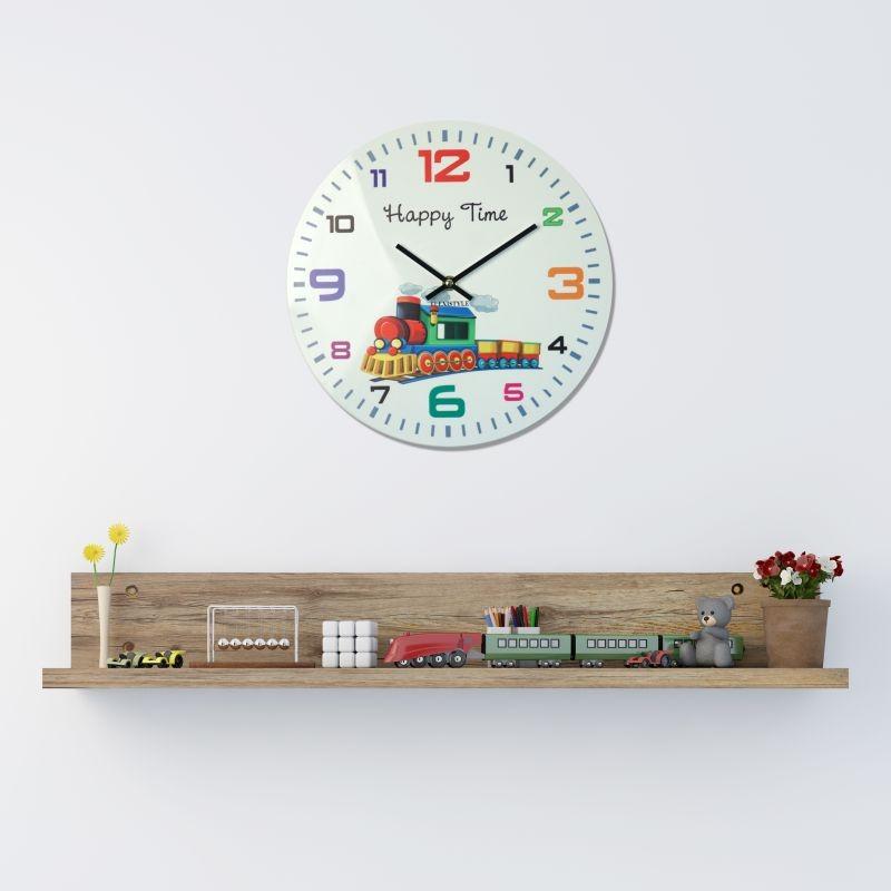6092fdb590e HAPPY TIME nástenné hodiny pre deti v bielej farbe s vláčikom
