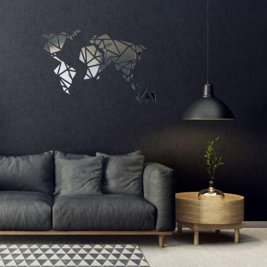 Dizajnové zrkadlo do obývačky Mapa Sveta