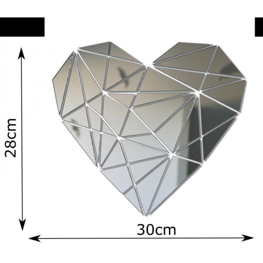 Nalepovacie zrkadlo na stenu v tvare srdca