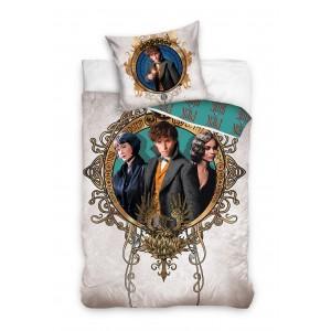 Bavlnená obliečka na posteľ pre deti v béžovej farbe s motívom FANTASTICKÉ ZVERY