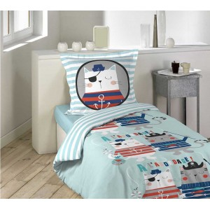 Modré detské posteľné obliečky CAPITAINE CHAT