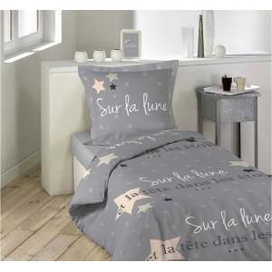 Sivé posteľné obliečky s francúzskym nápisom LALUNE