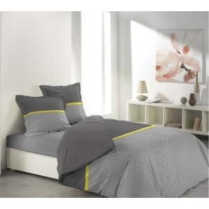 Sivé posteľné obliečky so žltým pásikom MALICE GREY & YELLOW
