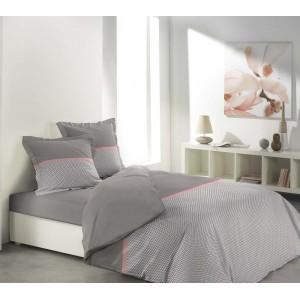 Béžové posteľné obliečky s prúžkom ružovej farby MALICE TAUPE & PINK