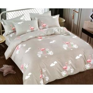 Sivé posteľné obliečky s motívom plameniakov