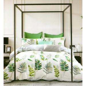 Svetlosivá posteľná bielizeň so zelenými listami
