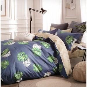 Tmavomodré obliečky na posteľ s listami