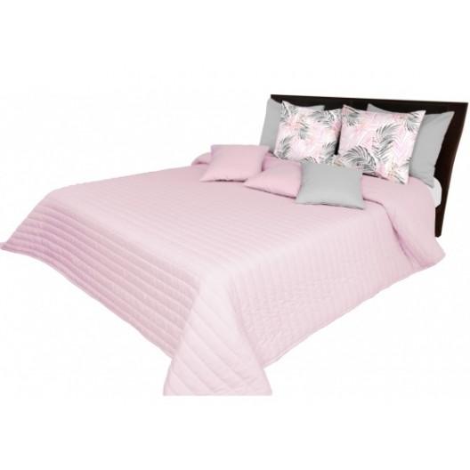 Prehoz na posteľ ružový s prešívaním
