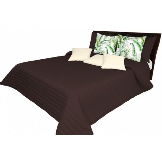 Tmavohnedý prešívaný prehoz cez posteľ