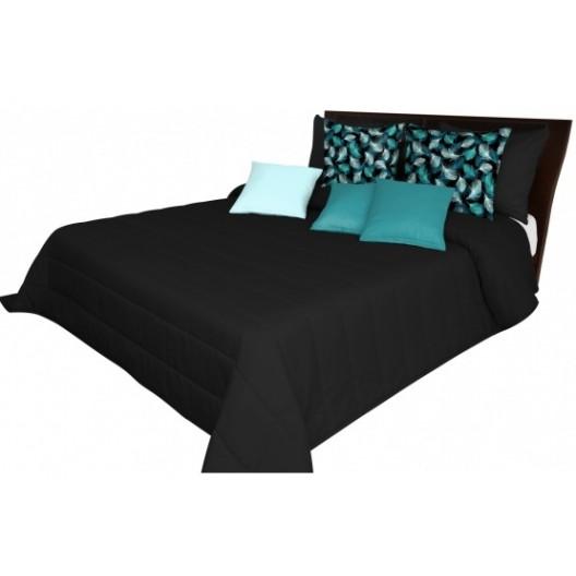 Čierna prešívaná prikrývka na posteľ
