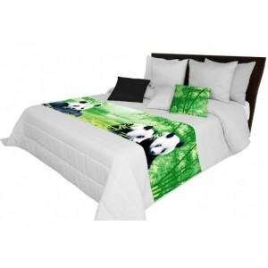 Prehoz cez postel v sivej farbe s pandami