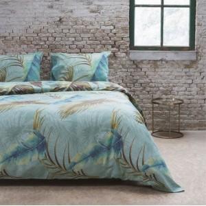 Tyrkysové posteľné obliečky vo vzorom listov VINTAGE JUNGLE