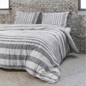 Pásikavé posteľné návliečky sivé LINENIST GREY