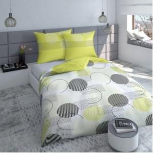 Zeleno bielo sivé posteľné obliečky s geometrickými vzormi