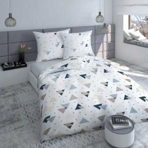 Bielo béžovo modré bavlnené posteľné obliečky s trojuholníkmi