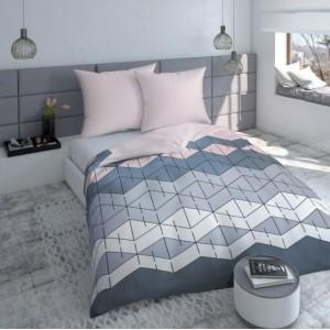 Bavlnené obliečky na posteľ svetlo ružovej farby so sivými vzormi