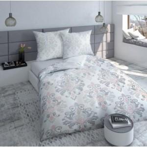 Sivé bavlnené obliečky s ružovými vzormi
